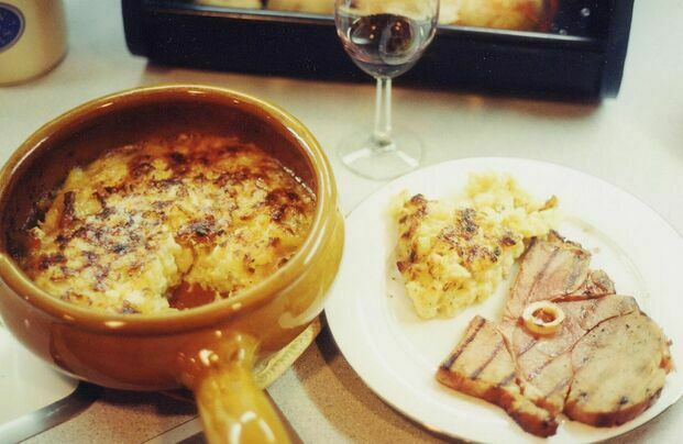A tartiflette, with fried ham