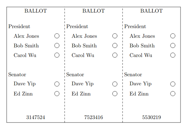 A sample ThreeBallot multi-ballot