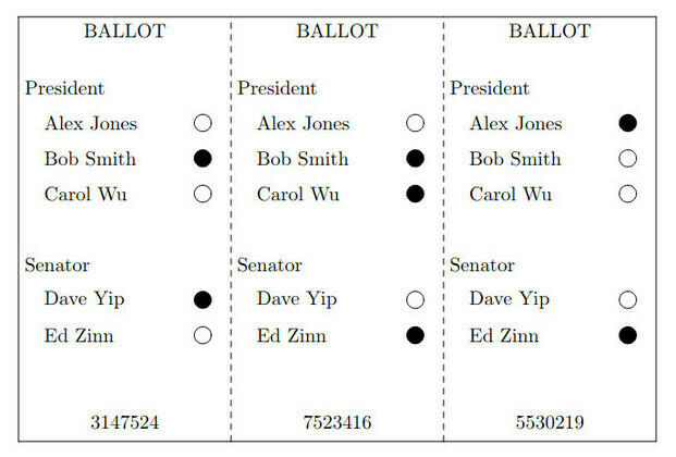 A sample filled ThreeBallot multi-ballot